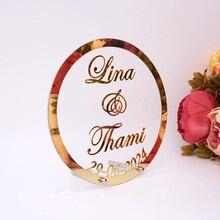 Пользовательское свадебное имя и Дата акриловая рамка для зеркала Babyshower слово знак круг Форма вечерние декор с ногтей гостей подарок
