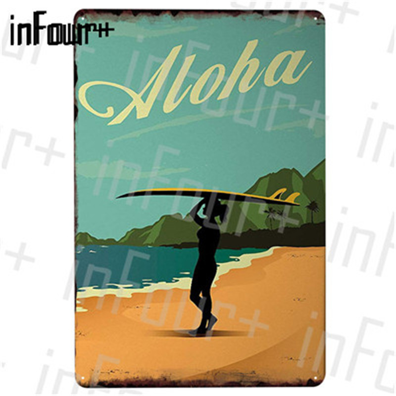Metal Tin Sign hawaii aloha plaque Decor Bar Pub Home Vintage Retro Poster Cafe