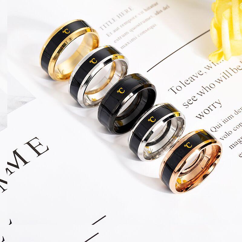 Температурное кольцо из титановой стали настроения чувства эмоции интеллектуальные чувствительные к температурам кольца для мужчин и женщин водонепроницаемые украшения|Кольца для помолвки| | АлиЭкспресс