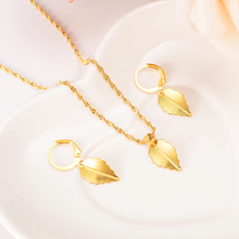 Dubai India Gold Color Leaf  Necklace Earrings Jewelry Set Women African Jewellery conjunto de brincosSet for Women Girls gifts new big african gold jewelry set for women nigerian necklace statement jewellery three tone necklace earrings