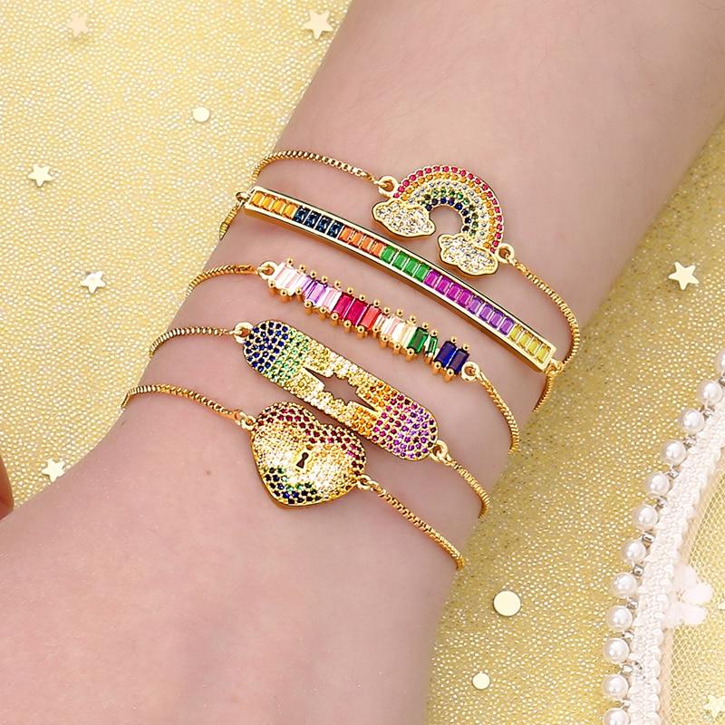 Золотые женские браслеты, браслеты, радужные браслеты с сердцем, дьявольским глазом, циркониевые, медные регулируемые браслеты, ювелирные и...