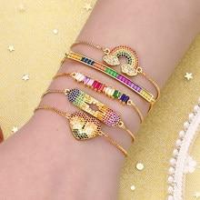 Pulseiras de ouro feminino pulseiras rainbow coração diabo olho pulseiras zircons cobre ajustável chian pulseira jóias para mulher