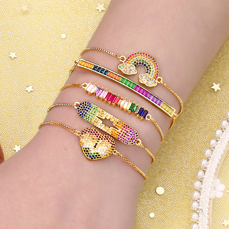 Women's cz rainbow gold bracelets bangles devil's eye fashion bracelet 2019 zircons colorful bracelet jewelry accessories gift