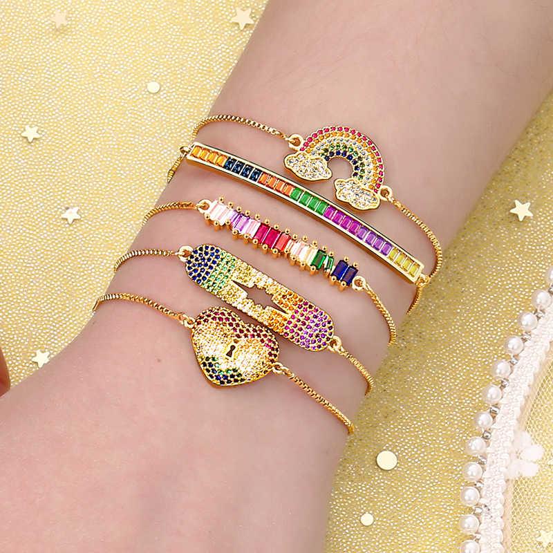 Женские cz радужные золотые браслеты на запястье с дьявольским глазом, модный браслет, цветной браслет с цирконами, ювелирные аксессуары, подарок 2019