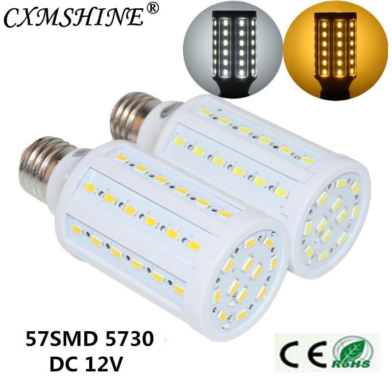 E27 B22 E14 E26 DC12V 57SMD5730 Led Corn Lamp Light Bulb Spotlight 12W Corn Bulb Lamp White/Warm White