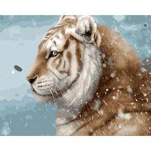 Diy цифровая фотография Тигр Холст Краска по номерам животные