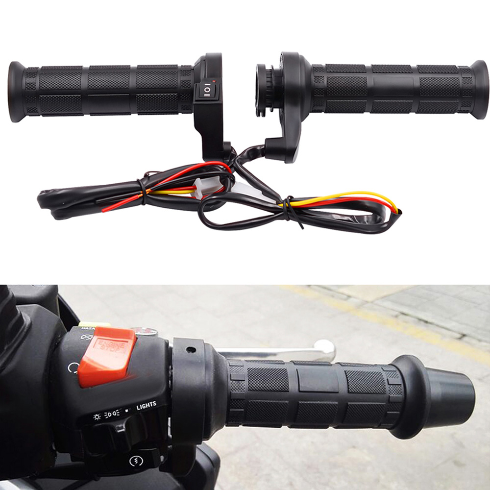 12V Motorcycle Handlebar Electric Hot Heated Handle Grips Motorbike Accessories