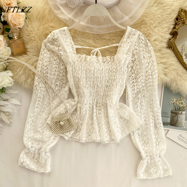Women Casual Ruffle Shirt New Summer Spring Long Puff Sleeve Slim Shirt Sweet Lady With Bow Thin Short Tops