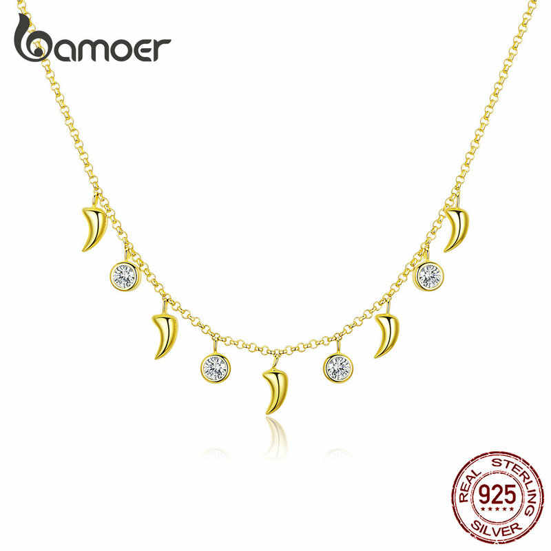 bamoer Silver 925 Necklace for Women Ivory Short Choker Chain Necklaces Female Fine Jewelry Cloth Accessoreis Gifts BSN131