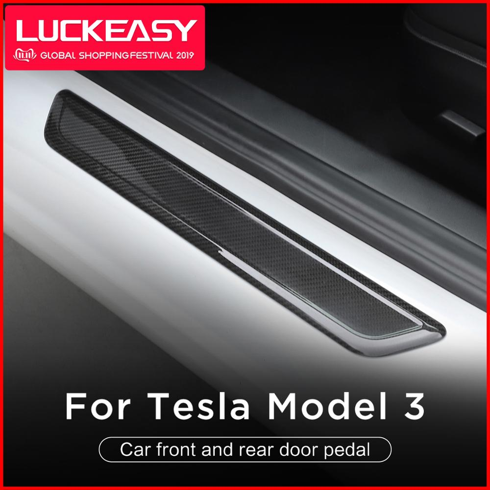 LUCKEASY Car front and rear door pedal For tesla model 3 2017-2019 Real Carbon Fiber Door Sill Scuff Plates