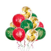 2020 New Year Red green DIY Christmas balloons Latex 12 inch bronzing 5 sides all printed color latex round Xmas balloons ZB264