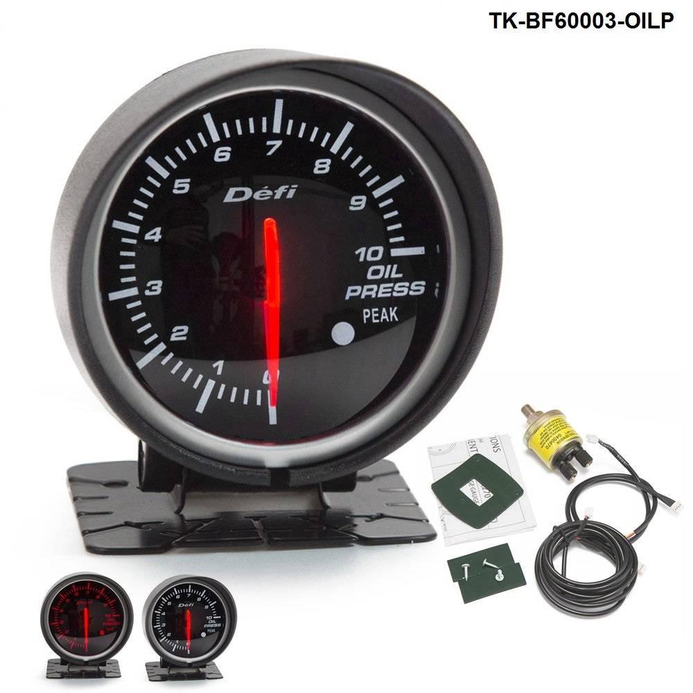 60mm def advanced oil press gauge Amber red// white lights black face auto meter
