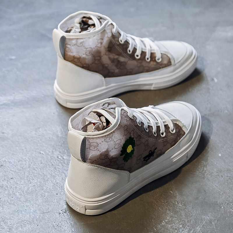 Pribadi Desain Baru Tinggi Atas Kanvas Sepatu Transparan Mesh dengan Kualitas Yang Baik