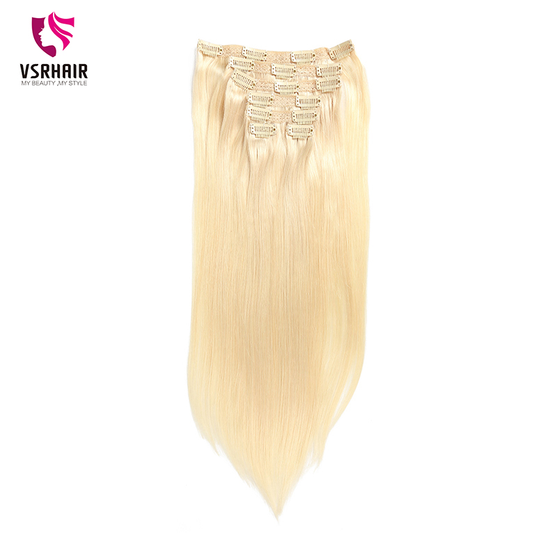 VSR 150g Blonde Clip In Hair Extension Machine Remy Hair Bottom Natural Clip Ins 8pcs/set Clips Human Hair