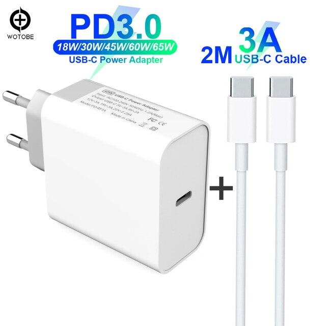 USB C Power Adapter PD/QC3.0 65W/60W/45W/30W TYPE C Wall Charger,For USB C Laptops/MacBook/iPad/xiaomi/Samsung (USB C cable)
