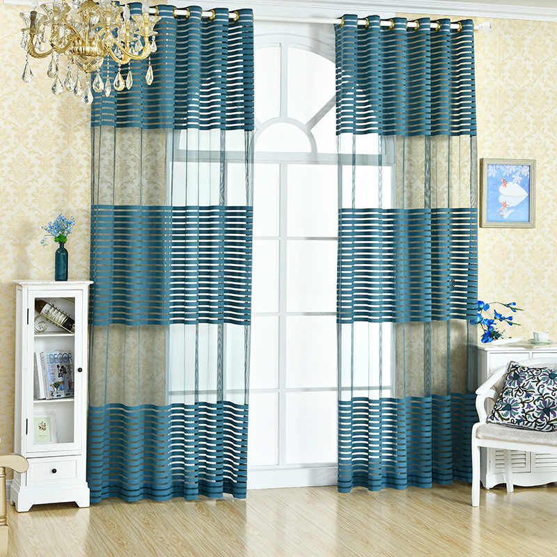 Fashion voile blue curtains sheer for  living room bedroom stripes tulle for window treatment home decoration white panel