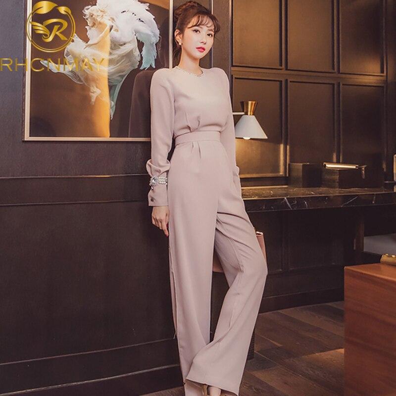 Spring Korean Edition New Women's Slim Temperament Fashion Shine Rhinestone Collar Long Sleeves High Waist Jumpsuits
