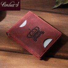 Contato pequeno clipe de dinheiro para as mulheres de couro genuíno fino caso de dinheiro carteras do sexo feminino vintage zíper saco de dinheiro marca feminina