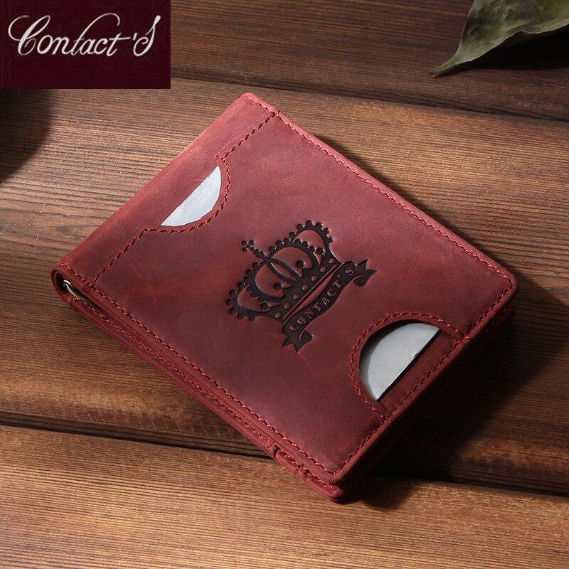 Kontakt's Kleine Geld Clip für Frauen Echtes Leder Dünne Geld Fall Weibliche Carteras Vintage Zipper Geld Tasche Weibliche Marke