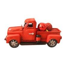 Vintage Navidad rojo Metal camión con ruedas Mesa decoración niños regalo juguete Metal camión ornamento niños Navidad regalos juguetes niño regalo