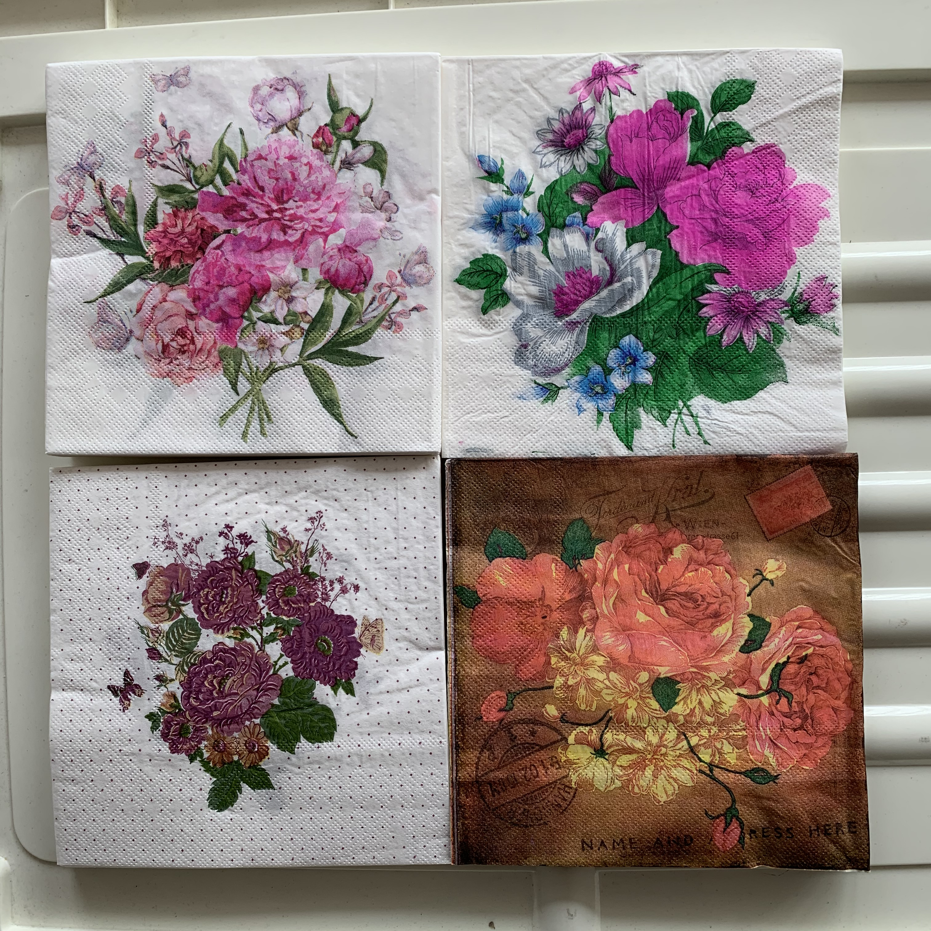 Beautiful Napkins Paper Tissue Floral Pattern Peony Flower Butterfly Handerchief Decoupage Craft Wedding Birthday Party Decor