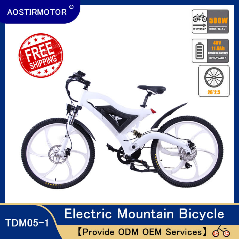 AOSTIRMOTOR Elektrische Mountainbike Elektro Fahrrad Beach Cruiser Elektro Fahrrad 500W Booster Ebike 36V 10,4 AH Lithium-Batterie