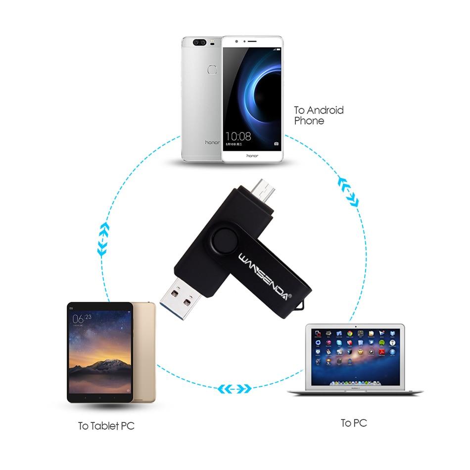 New Usb 3.0 Wansenda OTG USB flash drive for SmartPhone/Tablet/PC 8GB 16GB 32GB 64GB 128GB 256GB Pendrive High speed pen drive 5