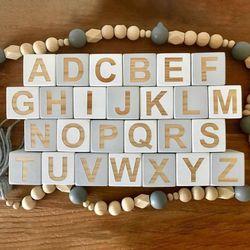 1 Set Thuis Ambachten Massief Houten 26 Engels Alfabet Plein Cube Block Baby Leren Ornamenten Kinderen Infant Fotografie Props