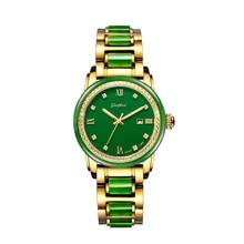 GEZFEEL Waterproof Mechanical Watch Women's Jade Watches Automatic Wristwatch Jasper Color Dial with Calendar Display Function