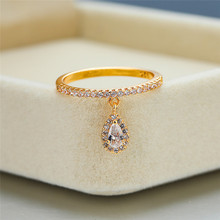 Trendy Female White Crystal Pendant Ring Charm Rose Gold Silver Wedding Rings For Women Cute Bridal Water Drop Engagement Ring trendy plated white gold environmental alloy narrow width crystal ring