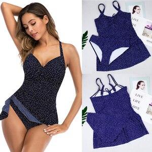 Image 1 - דוט הדפסת Tankini סט לשחות בתוספת גודל בגדי ים נשים בגד ים בציר 2020 לדחוף את חוף בגד ים נשי תחבושת Monokini 5XL