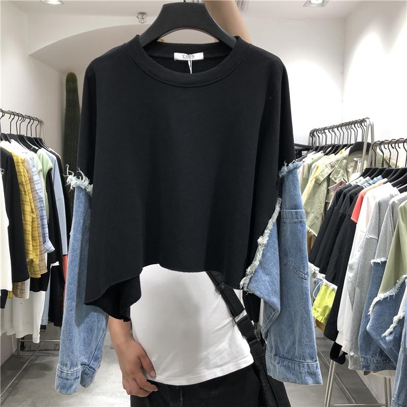 [EWQ] 2020 Spring Summer New Pattern Round Collar Long Sleeve Denim Patchwork Pullovers Streetwear Sweatshirt Women AH61206