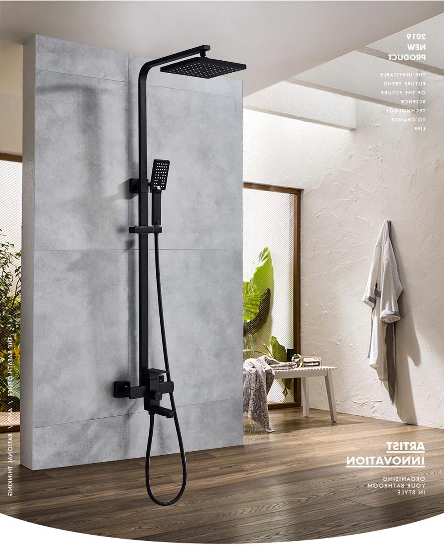Ha0a282d4bdf64ec896b42a083aa7588eR POIQIHY Black Bathroom Shower Faucet Set Wall Mount Black 8''Rainfall Shower Head With Handheld Sprayer Bathtub Shower Mixer