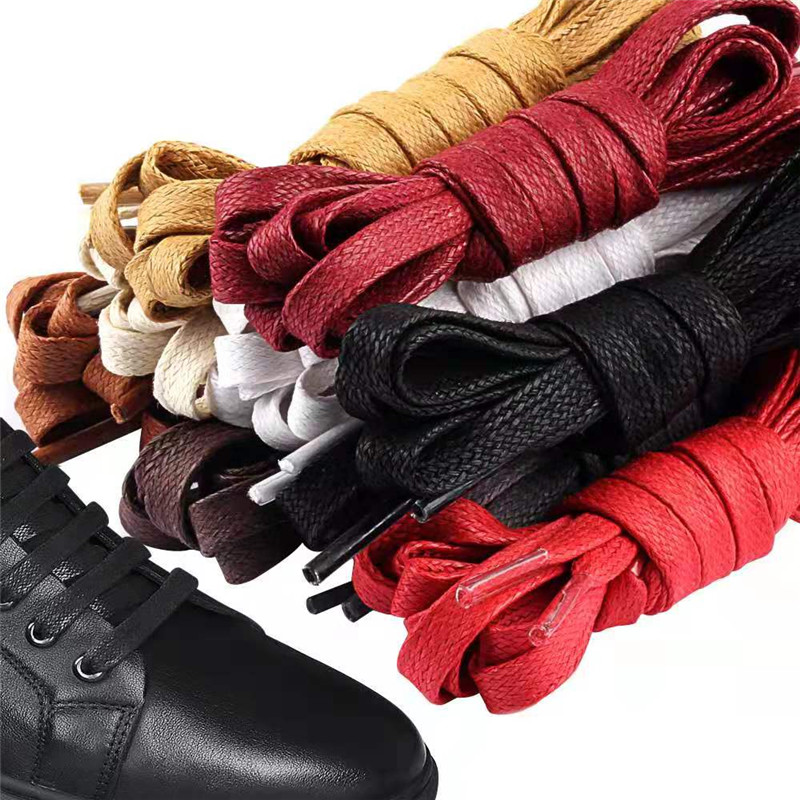 50/80/100/120CM 1Pair Unisex Waxed Flat Shoelaces Leather Waterproof Casual Shoes Laces Boots Shoelace For Shoes Accessories