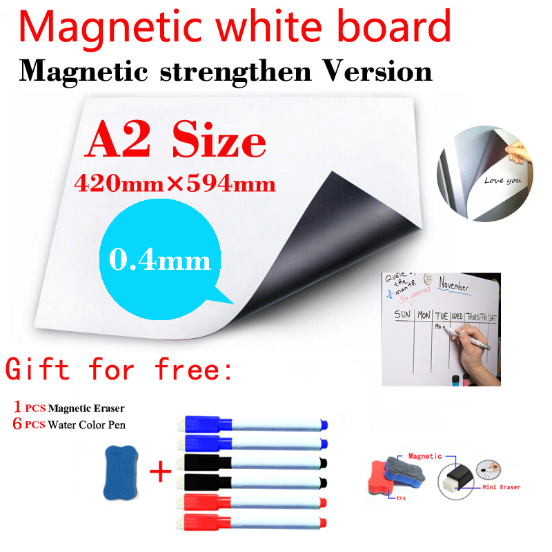 A2 Size Magnetic Strengthen Dry Erase White Boards Magnetic Whiteboard For Kids Home Office Fridge Wall Stickers Message Board