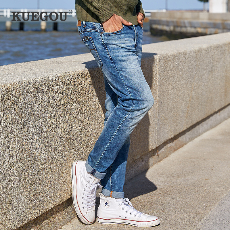 KUEGOU Cotton Spandex Men's Casual Blue Jeans Men's Fashion Korean Style Slim  Type Straight Jeans Pants Size KK-2923