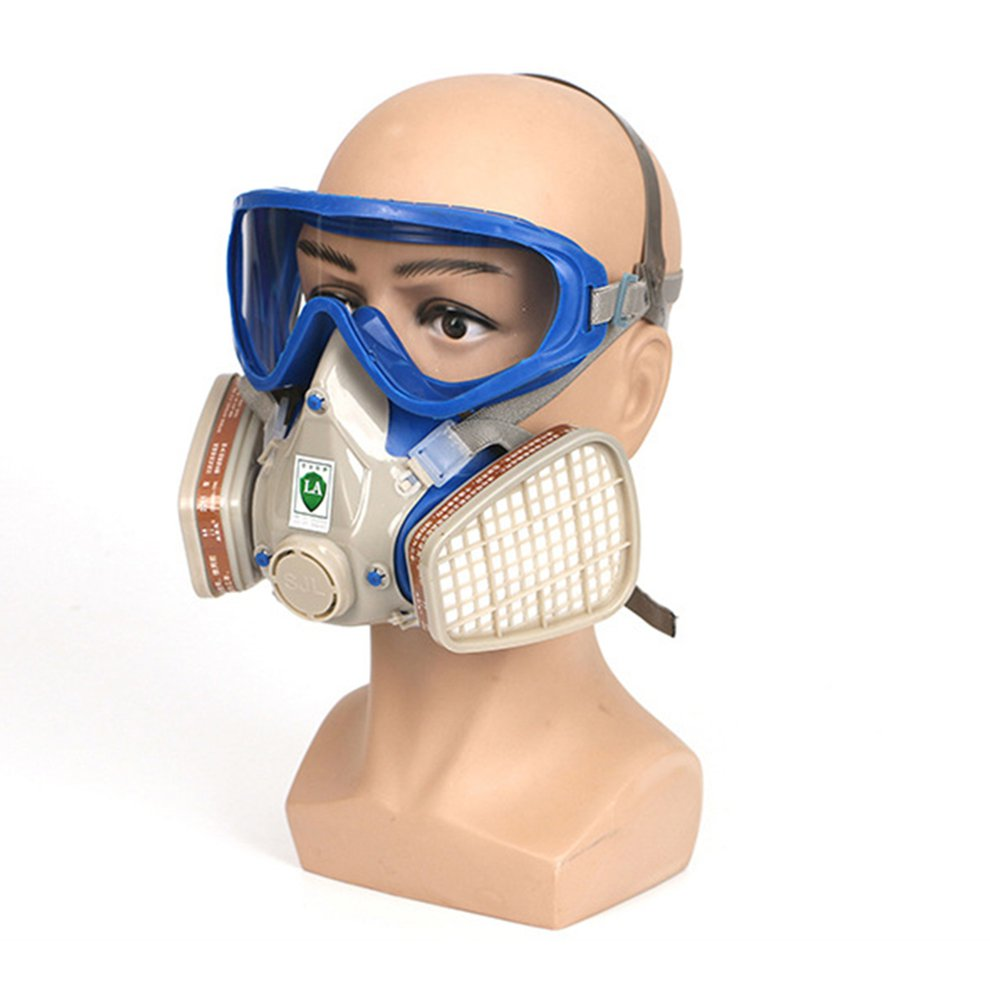 In Stock Professional Gas Mask Two Valves For Breathing Easily Adjustable Strap Filtering Small Dusts Mists Metallic Fumes 1 Set|Motorcycle Face Mask| |  - title=