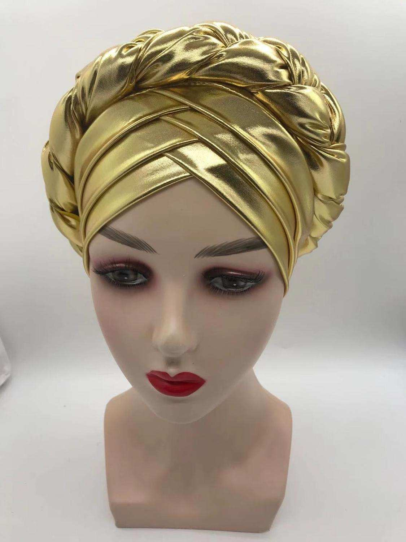 Head-Wraps Turbans Braid African-Cap Auto-Gele-Headtie Wedding-Gele Nigerian Aso Oke