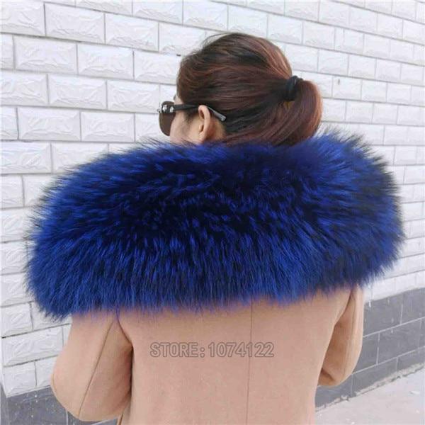 Женский шарф теплый подарок из меха енота ожерелья для куртки шарфы Banand Schal теплый натуральный зимний меховой шарф для женщин - Цвет: Blue
