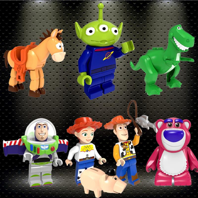Legoed Toys Story 4 Minifigured Woody Jessie Toy Aliens Buzz Lightyear Building Blocks Toy For Kids PG8222