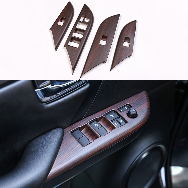 Car Door Window Glass Lift Switch Button Inside Door Handle Frame Trim Cover For Toyota Fortuner 2016 2017 2018 2019