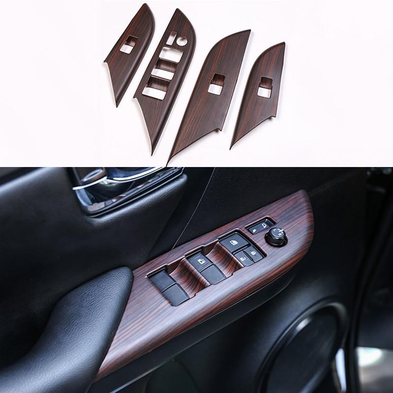 Car Door Window Glass Lift Switch Button Inside Door Handle Frame Trim Cover For Toyota Fortuner 2016 2017 2018 2019