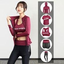 Pants Hooded-Coat Sports Bra Gym-Clothes-Set Fitness Yoga High-Waist Women's T-Shirt