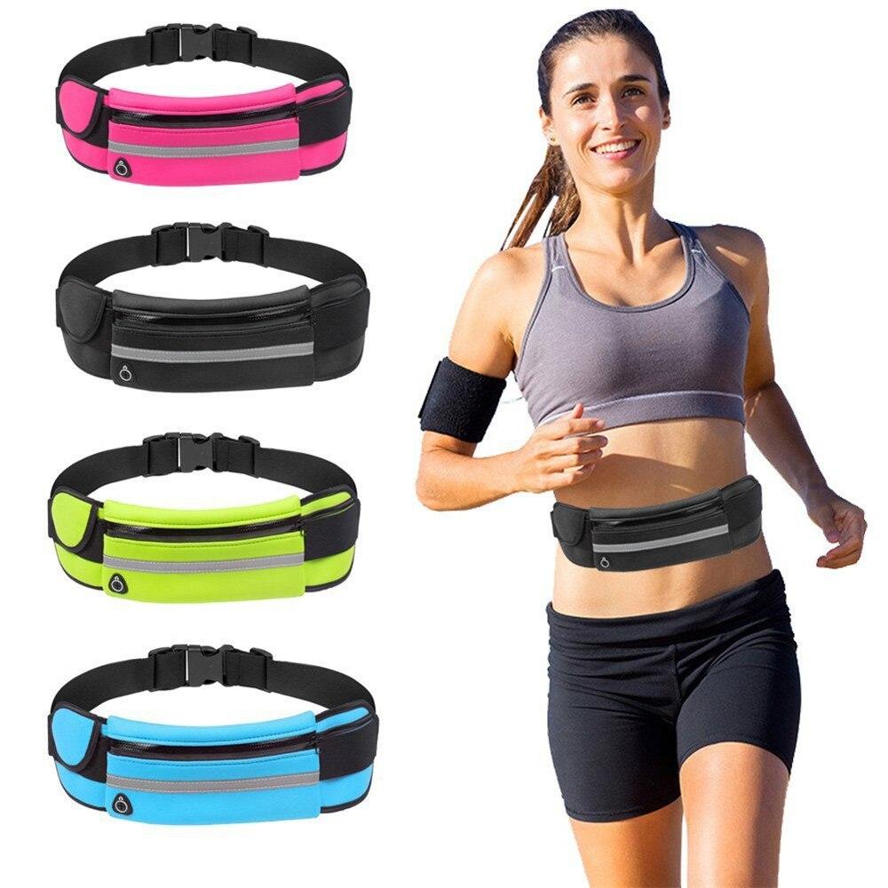 Men Women Outdoor Stretch Sports Solid Color Multi-pocket Neutral Package Belt Pockets Mobile Phone Bag Torba