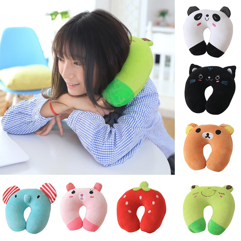 Cat Frog Panda Pig U Shaped Neck Support Pillow Travel Flight Headrest Cushion Cartoon Cats Soft Cushion Dolls Gift For Kids