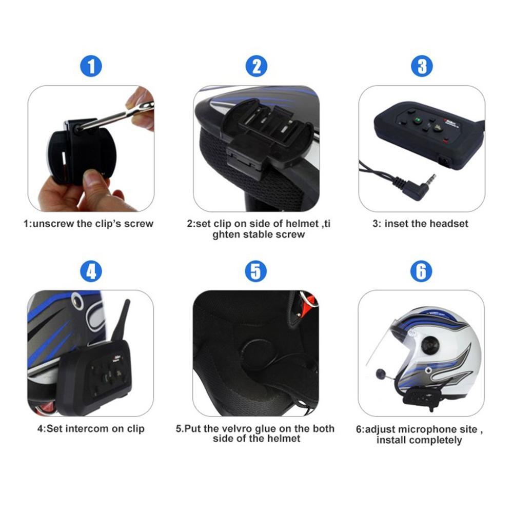 2 pièces casque Moto talkie-walkie 1200 M Duplex équitation talkie-walkie V6Pro 1200 M pour casque Moto interphone casque - 6