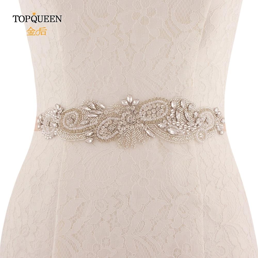 TOPQUEEN SJD-S280 Elegant Crystals Rhinestones Wedding Accessories Bride Bridal Sashes Wedding Sashes Belts Bridal Elastic Belt