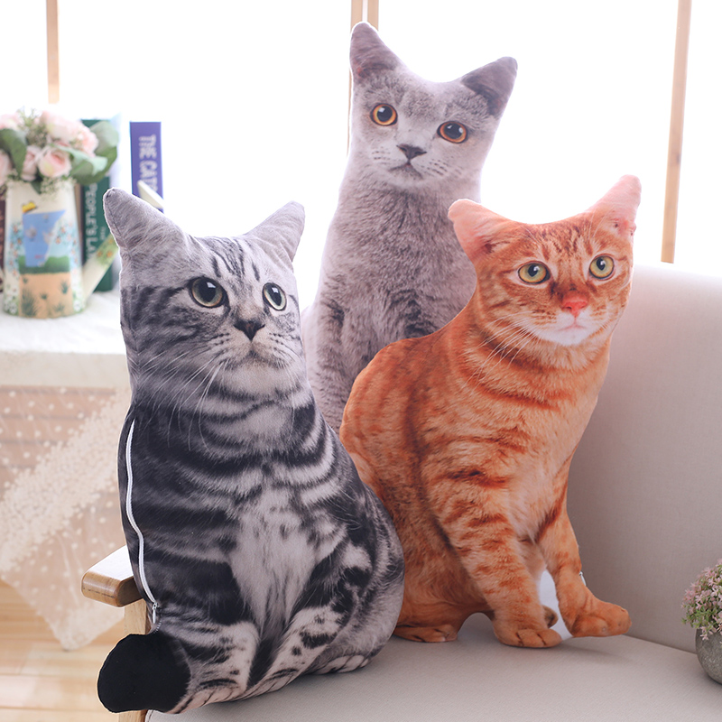 1PCS 50CM 3D Simulation Cat Plush Toy Stuffed Pillow Cute Cat Sofa Bedroom Cushion Kids Toys Home Decoration