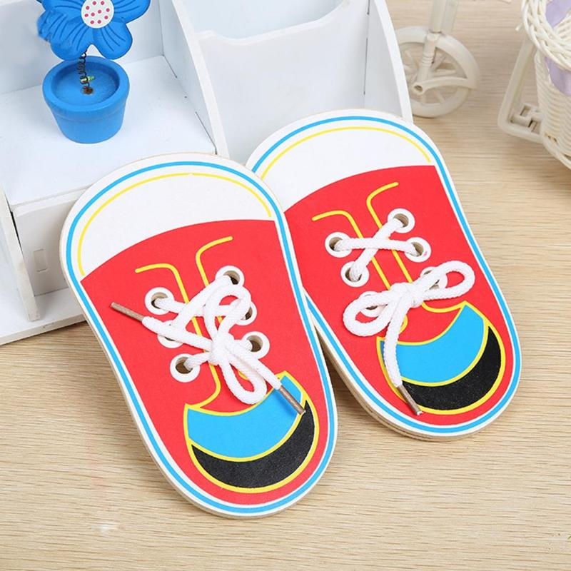 1PC Kids Cute Wooden Shoes Toys Children Learning Lacing Shoes Toy Kids Montessori Early Teaching Tie Shoelaces Puzzle Wood Toy