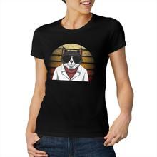 القط موضة الغروب ريترو كول ومضحك بأكمام قصيرة عادية موضة القطن تي شيرت
